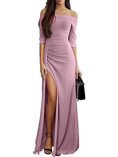 Spring Long Sexy Off Shoulder Party Dress Women Solid Shining Bodycon Sparkling Vintage Dinner Split Vestidos  Long Dress Female