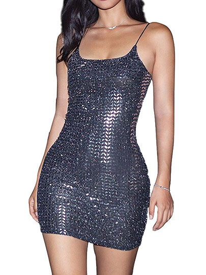 Helisopus Sexy Glitter Sparkle Women Dresses Spring Elegant Sleeveless Strap Mini Dress Sequined Slim Party Dress Vestidos