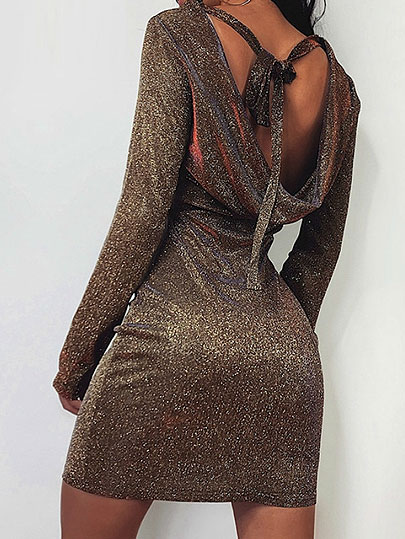 Christmas Glitter Women Back Bandage Sexy Sheath Dress Backless Sparkle Night Club Dress 2020 Shining Sliver Mujer Bodycon Robe