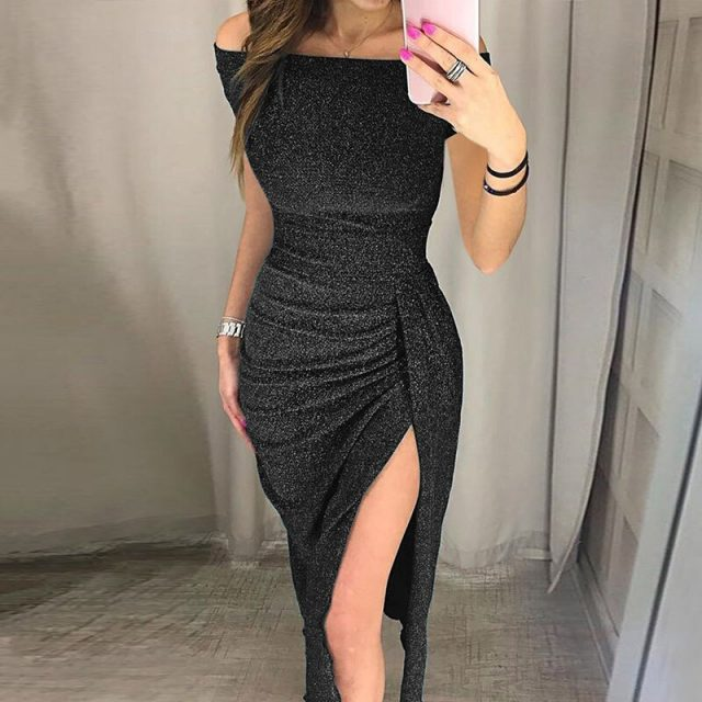 2019 Hot Droppshiping Womens Off Shoulder High Slit Bag Hip Dress Sparkling Formal Gown Sexy Dress BFJ55