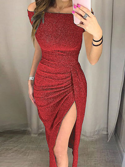 2019 Hot Droppshiping Womens Off Shoulder High Slit Bag Hip Dress Sparkling Formal Gown Sexy Dress BFJ55