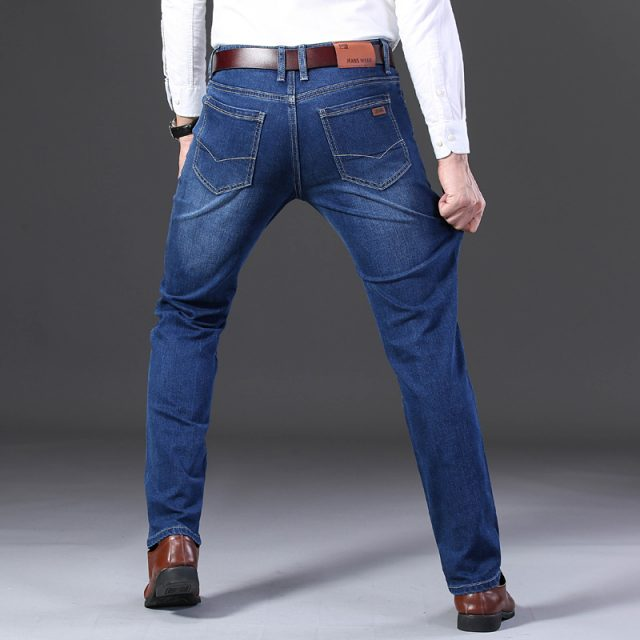 2019 Summer New Men Thin Jeans Business Casual Light Blue Elastic Force Fashion Denim Jeans Trousers Male Brand Pants