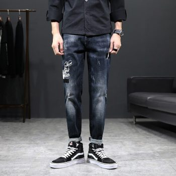 Fashion Skinny jeans men Drawstring Slim Fit Denim Joggers Stretch Male Jean Pencil Pants Blue Men's jeans fashion Casual Hombre
