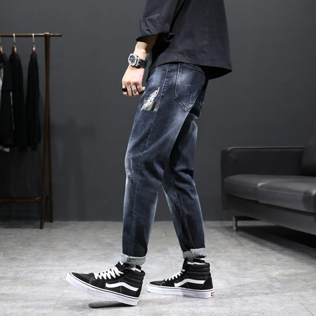 Fashion Skinny jeans men Drawstring Slim Fit Denim Joggers Stretch Male Jean Pencil Pants Blue Men's jeans fashion Casual Hombre