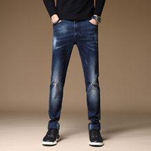 New Arrivals Jeans Men Quality Brand Business Casual Male Denim Pants Straight Slim Fit Dark Blue Men's Trousers Yong Man
