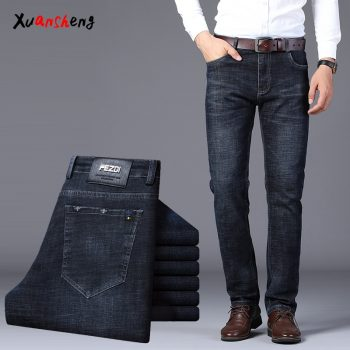 Xuan Sheng Straight Men's Jeans 2019 Blue Black Stretch Classic Fashion High Waist Loose Casual Men's Trousers Dark Thick Jeans