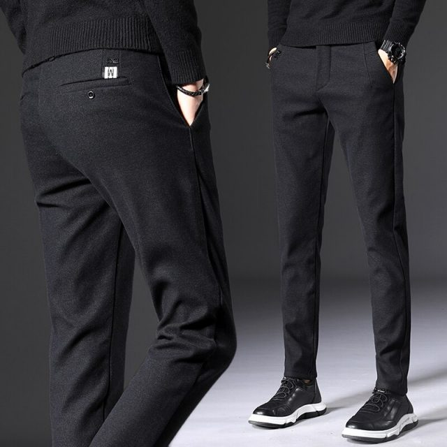 2019 Autumn New Men's Slim Casual Pants Fashion Elasticity Business Black Trousers Male Brand Clothes