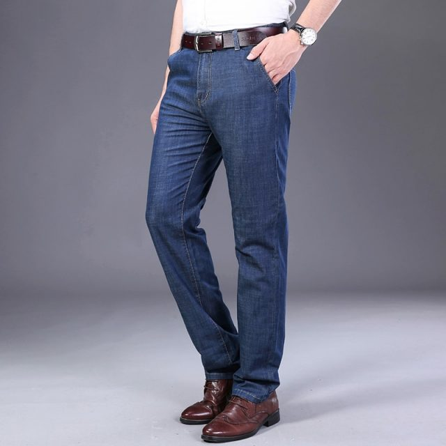 Xuan Sheng straight tube men's jeans 2019 thin new stretch loose brand light blue classic long pants streetwear High waist jeans