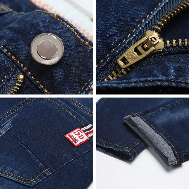 Brand youth slim men's jeans 2019 thick classic stretch straight cat claw personality blue fashion street long pants denim jeans