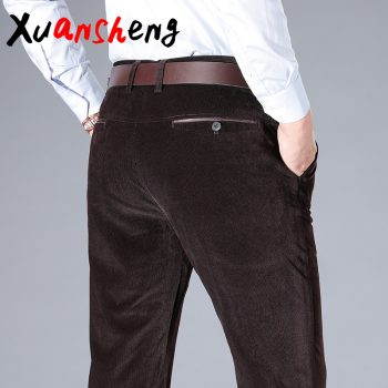 Middle-aged men's corduroy casual pants classic fashion business straight high waist large size wide leg pants long casual pants