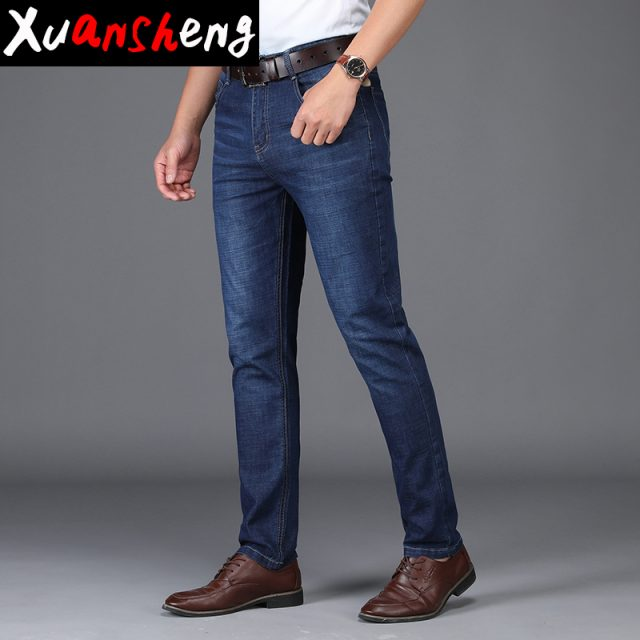Xuanshen thin men's jeans 2019 classic new youth British style summer slim straight stretch casual blue streetwear fashion jeans