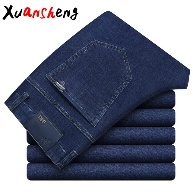 Xuan Sheng Business Straight Men's Jeans 2019 new Classic Brand Stretch Casual Fashion Blue Black Long Pants Streetwear Jeans
