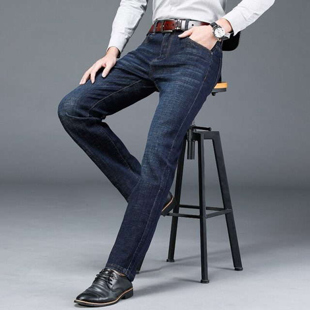 Brand straight jeans men's youth casual stretch 2019 new classic spring and autumn thick section street denim long pants jeans