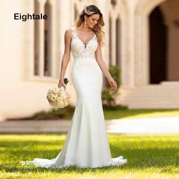 Eightale Mermaid Wedding Dresses Boho 2019 V Neck Appliques Lace Chiffon Buttons Wedding Gowns Bride Dress vestidos de noiva