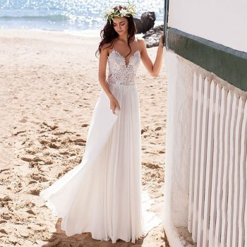 Eightree Beach Boho Wedding Dresses Lace Appliques Bridal Dress Spaghetti Straps vestido de noiva Backless Chiffon Wedding Gowns