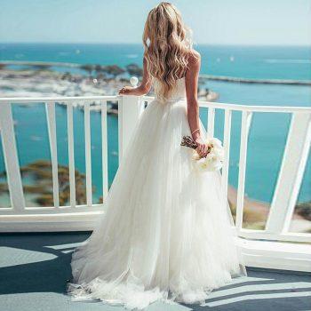 Eightree A-Line Beach Wedding Dress 2019 Sweetheart Bridal Dress White Spaghetti Straps Classic Simple Wedding Gowns Gelinlik