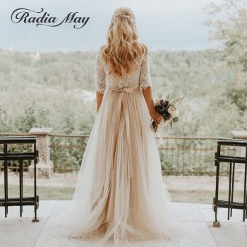 Sexy Backless Champagne Bohemian Wedding Dresses with Sleeve A-line Hippie Country Western Bridal Gowns Boho Beach Wedding Dress