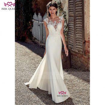 2019 Europe Style Satin Mermaid Wedding Dress Embroidery Lustrous Satin Deep V-neckline Vestido De Noiva Ivory Bride Dress w0517