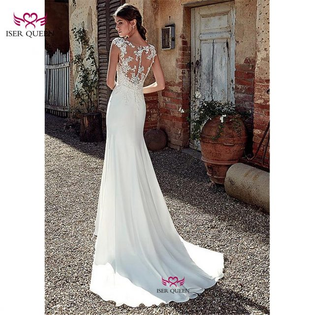 2019 Europe Style Satin Mermaid Wedding Dress Embroidery Lustrous Satin Deep V-neckline Vestido De Noiva Ivory Bride Dress w0517