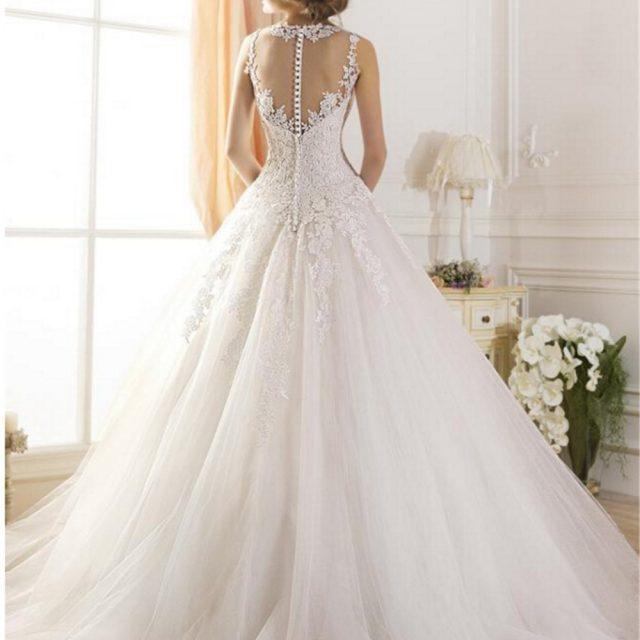 2019 lace White Ivory A-Line Wedding Dresses for bride Dress gown Vintage plus size Customer made size Backless vestido De Noiva