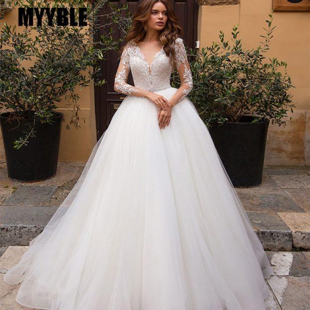 MYYBLE White Long Sleeves Lace Applique Bridal Gowns Tulle Wedding Dress 2020 Boho Sofuge Vestido De Noiva Dubai Arabic