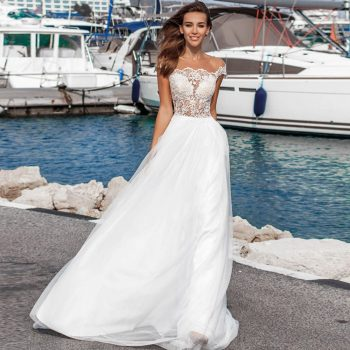 Gelinlik O-neck Boho Beach Wedding Dress Ivory Chiffon Bruidsjurken Short Sleeve Sexy Vestido de Noiva Plus Size Bridal Gown