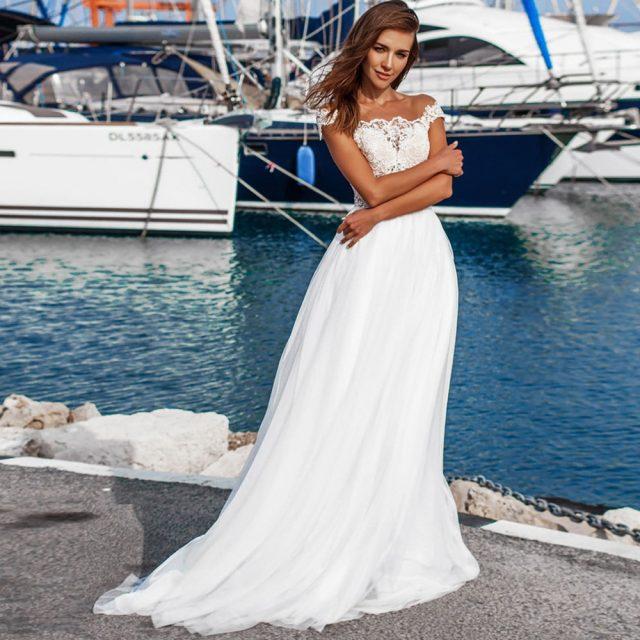 Gelinlik O-neck Boho Beach Wedding Dress Ivory Chiffon Bruidsjurken Short Sleeve Sexy Vestido de Noiva Plus Size Bridal Gown