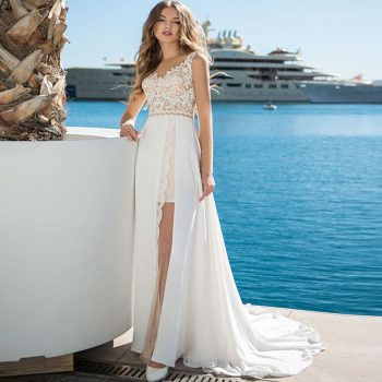Trouwjurken Long Sleeve Beach Wedding Dresses 2019 Chiffon Elegant Vestido de Noiva Praia Simple Robe de Mariee Bride Dress