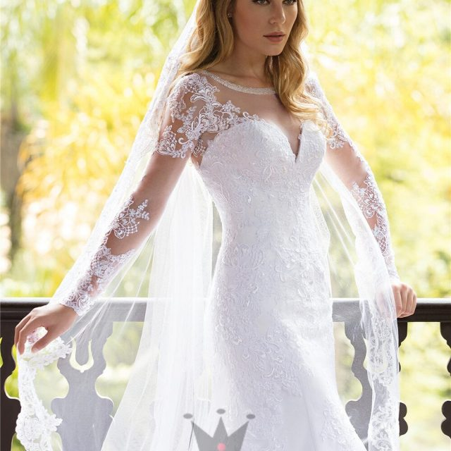 Custom Made Mermaid Long Sleeve Tulle Lace Beading Crystal Formal Sexy Bridal Wedding Dresses Vestido de Noiva 2020 WH84