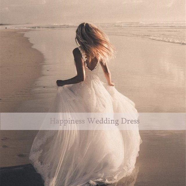 Beauty V-Neck Tulle Lace Wedding Dress White Appliques Backless with Zipper Custom Made 2020 Bridal Gowns