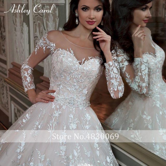 Ashley Carol Vintage Ball Gown Wedding Dress 2019 Scoop Lace Long Sleeve Court Train Dream Princess Bridal Gown Vestido de Noiva