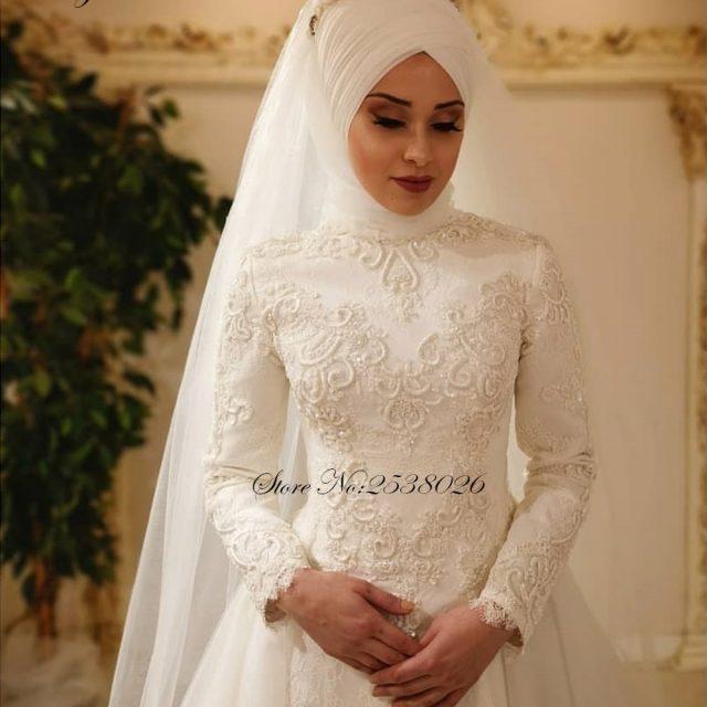 Liyuke Vestido De Noiva 2019 Elegant Long Sleeve O Neck Muslim Wedding Dresses Tulle Zipper Back Lace Islamic Wedding Gowns