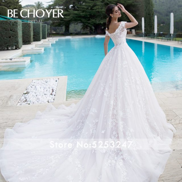 Luxury Beaded 3D Flowers Wedding Dress BECHOYER K175 Sweetheart Off Shoulder Appliques Lace Ball Gown Bride Vestido de Noiva