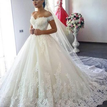 Vestido de Noiva 2019 Princess Wedding Dress Ball Gown Off Shoulder Beads Applique Lace Bride Dress Bridal Gown Robe De Mariee