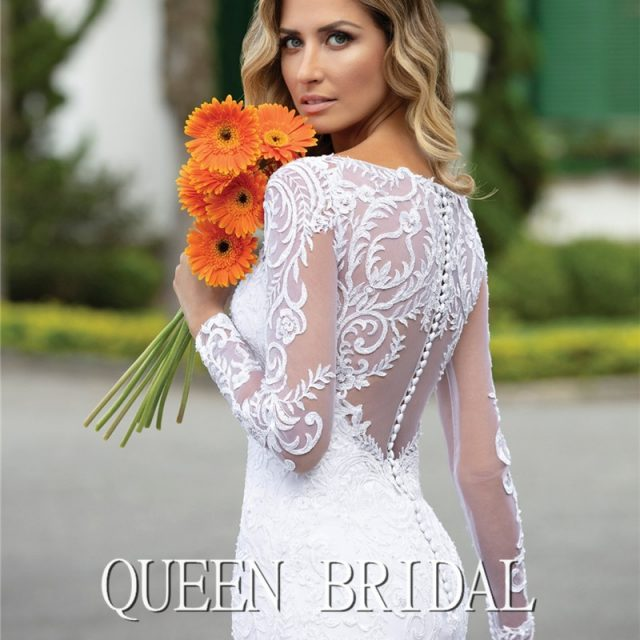 Custom Made 2020 New Design Wedding Dresses Mermaid V-neck Long Sleeve Tulle Lace Beading Elegant Sexy Wedding Gowns CO21