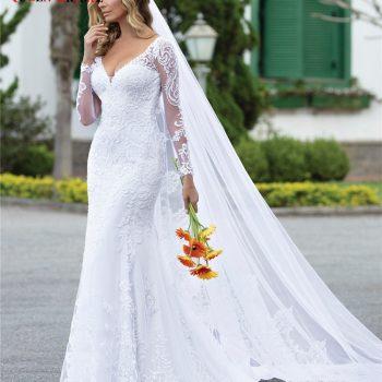 Custom Made 2020 New Design Wedding Dresses Mermaid V-neck Long Sleeve Tulle Lace Beading Elegant Sexy Wedding Gowns CO21
