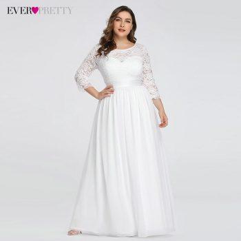 Plus Size Wedding Dresses Elegant A-Line Lace Long Beach Vintage Bridal Dress with Sleeve Ever Pretty EP07412 Vestido de Noiva