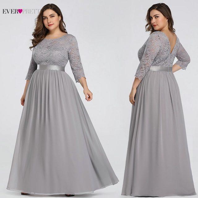 Plus Size Lace Wedding Dresses Long Ever Pretty O-Neck Long Sleeve A-Line Elegant Women Wedding Gowns Vestido De Noiva 2019