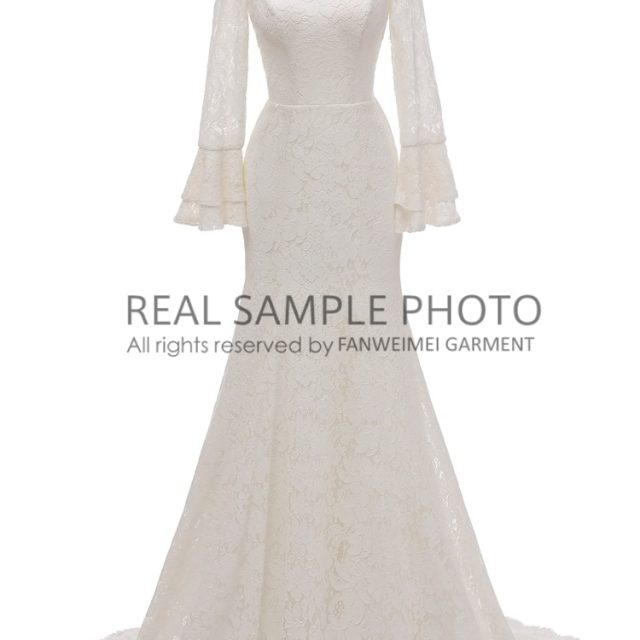 Lace LONG sleeve SIMPLE bridal GOWN wedding dress real photo factory price