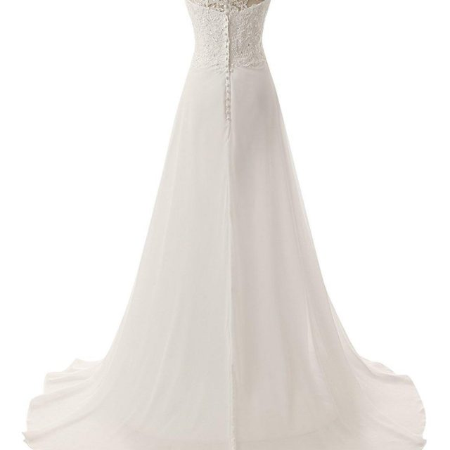Beach Bridal Gown Chiffon Lace Appliques Wedding Dress 2019 Wedding Dresses White/Lvory Backless Vestido De Noiva
