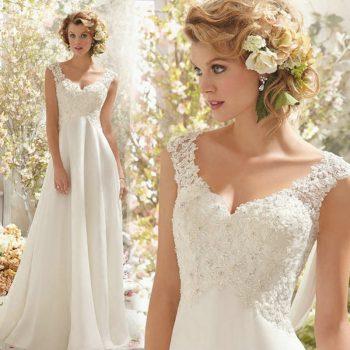 Beach Bridal Gown Chiffon Lace Appliques Wedding Dress 2019 Wedding Dresses White/Lvory Backless Vestido De Noiva