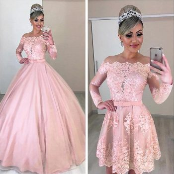Unique Tulle Off-the-shoulder Neckline 2 In 1 Wedding Dresses Long Sleeves & Bowknot & Detachable Skirt Pink Bridal Dress