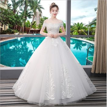 Designer Wedding Dress Off Shoulder  boat neck Short Sleeves Empire Net Applique Paillette lace up Bridal Ball Gown