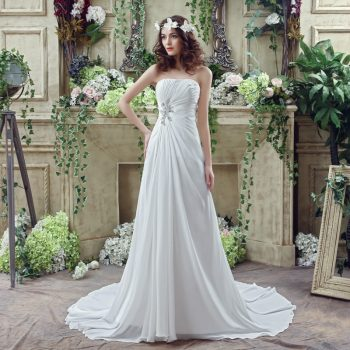 Strapless Chiffon Wedding Dress Fairy temperament Applique Artificial pearl Beading Ruffles Bridal Gown