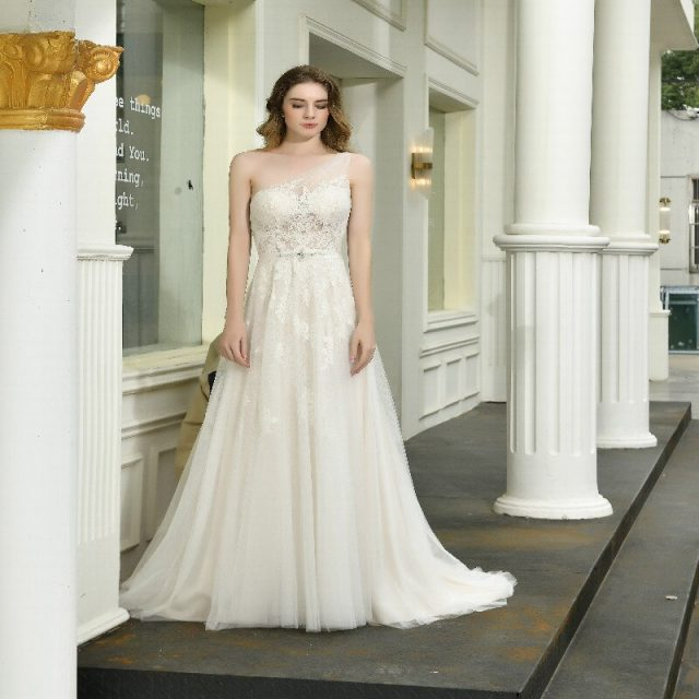 One-shoulder Wedding Dress Rhinestone Sash Applique net button back A-Line Bridal Gown
