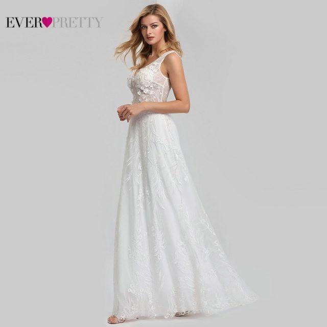 Elegant Lace Wedding Dresses Ever Pretty EZ07832CR A-Line V-Neck Bride Boho Wedding Gowns Vestido De Noiva 2020 Tulle Mariage