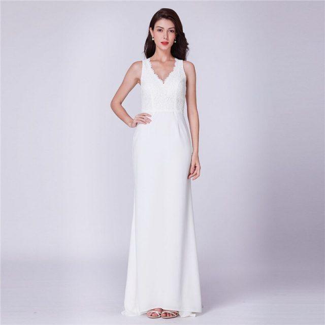 Elegant Wedding Dresses 2020 Mermaid Long Wedding Party Dress R182 Lace Top Formal Vestido de Novia  V-Neck Tank  Robe De Mariee