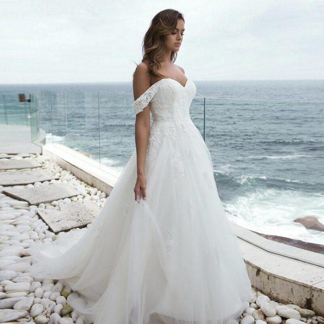 LORIE Off the shouler Wedding Dresses 2019 Lace Appliques Bridal Dress Tulle Wedding Gowns Detachable sleeve Robe De Mariee