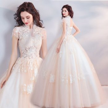 Wedding Dress Short Sleeve Embroidery Vestido De Noiva Crystal Champagne Flower V-neck Floor Length Ball Gown Wedding 2019 E164
