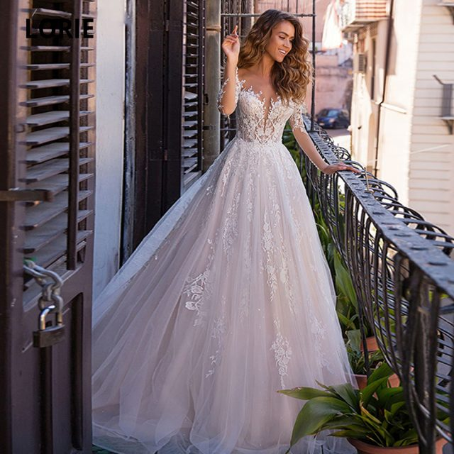 LORIE Boho Pink Wedding Dresses Lace Appliques with soft Tulle Long Sleeve Beach Bridal Gowns Plus Size Sweep Train Marriage